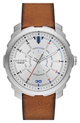 Men's Diesel 'Mac 3' Leather Strap Watch 46Mm Light Brown Silver