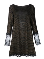 Loyd Ford Semi Sheer Animal Print T Shirt Dress Brown