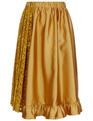 Leur Logette Mustard Satin Lace Panel Skirt Yellow