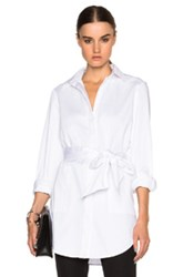 Sally Lapointe Stretch Cotton Oversized Shirt With Wrap Belt In White