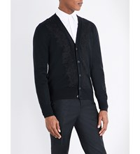 Alexander Mcqueen Embroidered Wool Cardigan Black Black