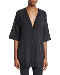 Agnona Short Sleeve Button Front Tunic Black