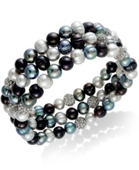 Honora Style Cultured Freshwater Pearl 6Mm And Black Crystal 7Mm Stretch Bracelet Trio