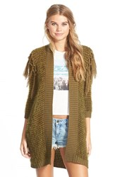 Junior Women's Volcom 'Black Sheep' Open Cardigan Green Lentel