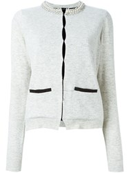 Twin Set Embellished Collar Cardigan Grey