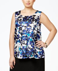 Kasper Plus Size Printed Pleated Blouse Grape Multi
