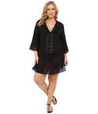 Lablanca Plus Size Island Fare Tunic Cover Up Black Women's Swimwear