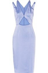 Cushnie Et Ochs Cutout Crinkled Silk Satin Dress Light Blue