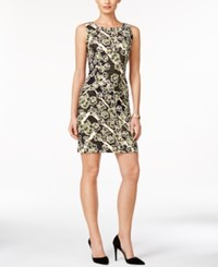 Connected Sleeveless Printed Sheath Dress Olive