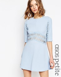 Asos Petite Skater Dress With Lace Insert Pale Blue