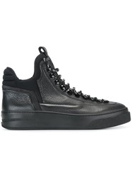 Bruno Bordese Lace Up Hi Top Sneakers Black