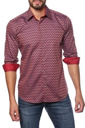 Jared Lang Long Sleeve Chevron Print Semi Fitted Shirt Multi