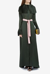 Merchant Archive Pleated Collar Silk Dress Green