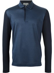 Canali Long Sleeve Polo Shirt Blue