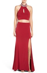 Way In Women's 'Sharon' Embellished Halter Two Piece Gown