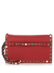 Valentino Rockstud Rolling Leather Clutch Red