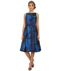 Adrianna Papell Sleeveless Tea Length Dress Blue Green Women's Dress
