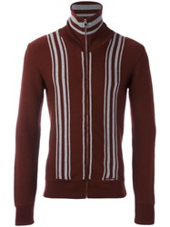 Dolce And Gabbana Striped Zip Cardigan Red