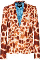 Just Cavalli Printed Stretch Faille Blazer Brown