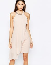 Lipsy High Neck Babydoll Dress With Ruffle Front Blush Pink