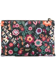 Red Valentino Flower Print Small Clutch Black