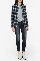R 13 Slim Plaid Shirt Black 2