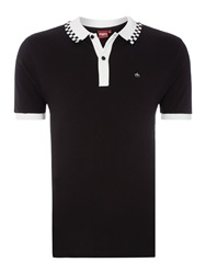 Merc Nova Checkerboard Tipping Polo Shirt Black