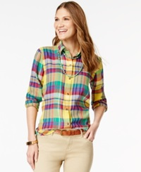 American Living Plaid Button Front Shirt Only At Macy's Yellow Multi