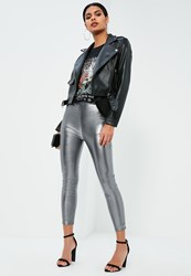 Missguided Petite Exclusive Silver Faux Leather High Waisted Leggings