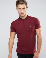 Armani Jeans Polo Shirt With Denim Bomber Neck In Burgundy Burgundy Red