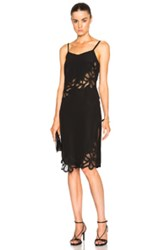 Victoria Beckham Crepe De Chine And Lace Cami Dress In Black