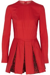 Valentino Pleated Cotton Poplin Playsuit Red