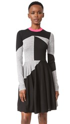 Mcq By Alexander Mcqueen Colorblock Sweater Dress Black Grey Melange