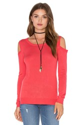 Feel The Piece Florentine Open Shoulder Sweater Coral