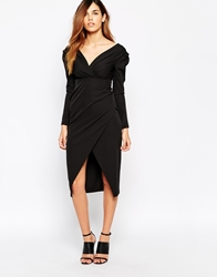 Arrogant Cat Frill Shoulder Pencil Dress Black