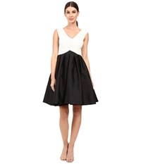 Adrianna Papell Tafeta Fit And Flare Dress Black Ivory Women's Dress