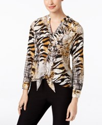 Thalia Sodi Printed Tie Front Blouse Only At Macy's Washed White