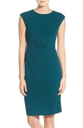Betsey Johnson Women's Ruched Ponte Sheath Dress Hunter Green