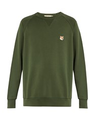 Maison Kitsune Fox Applique Crew Neck Cotton Sweatshirt Khaki