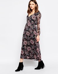 Diya Maxi Dress In Paisley Print Black