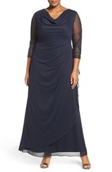 Alex Evenings Plus Size Women's Beaded Sleeve Ruched Waist Gown