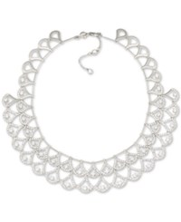Carolee Silver Tone Pave Double Layer Crystal Collar Necklace