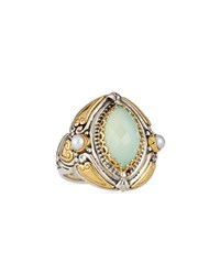 Sea Blue Agate And Pearl Marquis Ring Konstantino