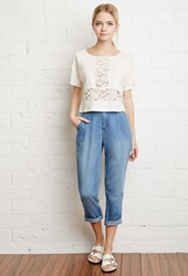 Forever 21 Embroidered Mesh Paneled Boxy Top Cream