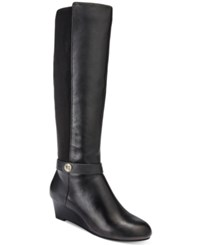 Giani Bernini Dafnee Tall Wide Calf Wedge Boots Only At Macy's Women's Shoes Black