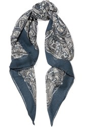 Saint Laurent Paisley Print Cashmere And Silk Blend Scarf Petrol