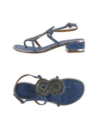 Coral Blue Thong Sandals Camel
