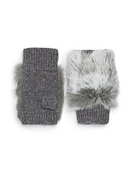 Adrienne Landau Wool And Rabbit Fur Fingerless Gloves Dark Grey