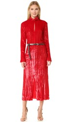 Nina Ricci Long Sleeve Turtleneck Dress Bright Red