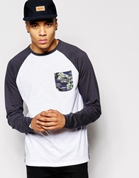 Bellfield Long Sleeve Top With Contrast Pocket With Contrast Raglan Sleeves White
